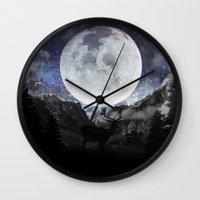 starry night Wall Clocks featuring Starry night by emegi