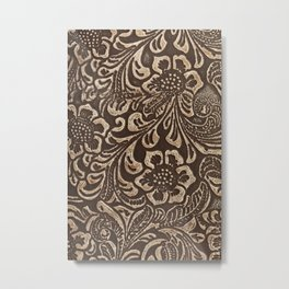 Gold & Brown Flowered Tooled Leather Metal Print