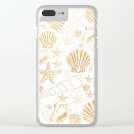 Gold Sea Shells on white Clear iPhone Case