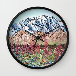 Denali Fireweed Wall Clock
