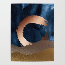 Navy Blue, Gold And Copper Abstract Art Poster
