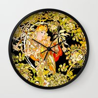 mucha Wall Clocks featuring Marguerite's Bower, Mucha by Vintage Era Art