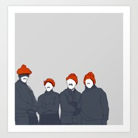 hats Art Prints featuring Hats by Black Bear / White Bear