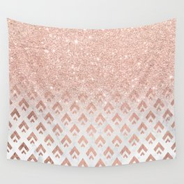 Faux rose gold glitter ombre rose gold foil triangles chevron geometric on white marble Wall Tapestry