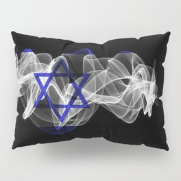 Israel Smoke Flag on Black Background, Israel flag Pillow Sham