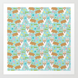 Corgis Easter - cute pastel spring corgi fabric Art Print