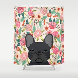 French Bulldog floral dog head cute pet gifts dog breed frenchies Shower Curtain