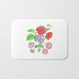 Wild Poppies, Lilacs, and Roses Bath Mat