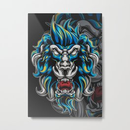 Angry Myhtic Lion Metal Print