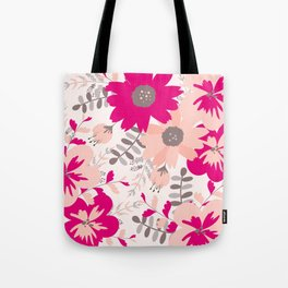 Big Flowers in Hot Pink and Accent Gray Tote Bag
