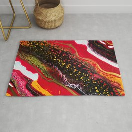 Maryland Paint Pour (Red, Black, White, Yellow, Gold Art) Rug