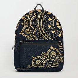 Mandala Watercolor Sketchy, Mandala Yoga, Blue, Gold Backpack