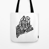 maine Tote Bags featuring Typographic Maine by CAPow!