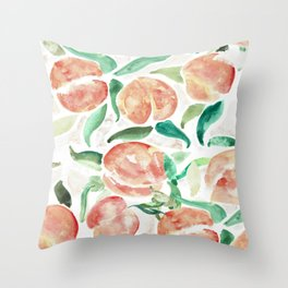 Watercolor Peaches Throw Pillow