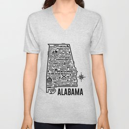 Alabama Map Unisex V-Neck