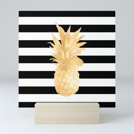 Gold Pineapple Black and White Stripes Mini Art Print