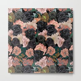 Because Black Pug Metal Print