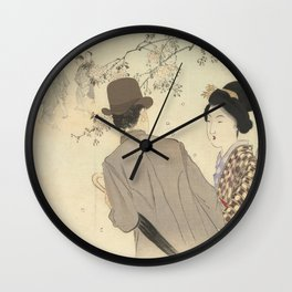 Man with bowler hat and umbrella and lady in kimono - Takeuchi Keishu (1900 - 1925) Wall Clock