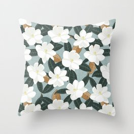 magnolia flowers - southern floral - teal Throw Pillow