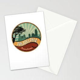 Philadelphia City Skyline Pennsylvania Retro Vintage Design Stationery Cards