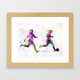 Girls playing soccer football player silhouette Framed Art Print