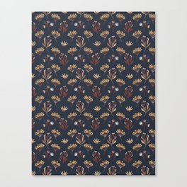 Navy Blue Seed Pods Canvas Print