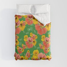 Floral pattern overload - yellow and  green Duvet Cover