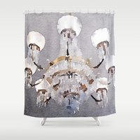 chandelier Shower Curtains featuring Chandelier by Charming Ink