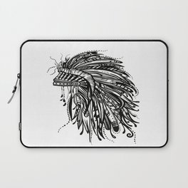 Native American Indian Headdress Warbonnet Black and White Laptop Sleeve