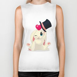 cute cartoon Funny Bunny with topper Biker Tank