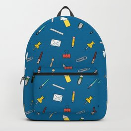 Happy office stationery in blue background Backpack