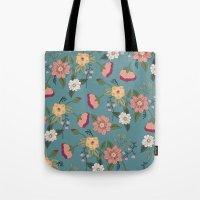 vintage floral Tote Bags featuring Floral Vintage by Juliana Zimmermann