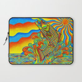 Psychedelic Rainbow Trout Fish Laptop Sleeve