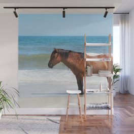 Watercolor Horse 50, Assateague Pony, Assateague, Maryland, Solitary Stand Wall Mural