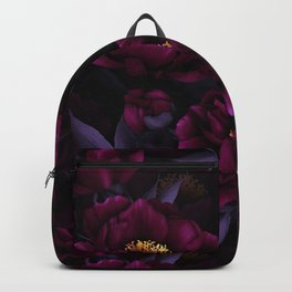 Vintage Dark Night Peonies  Backpack