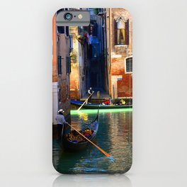 Gondoliers On A Venetian Canal iPhone Case