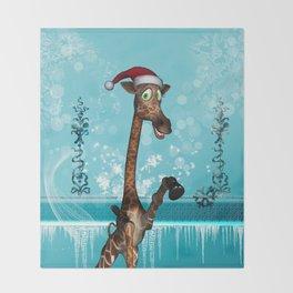 Funny, cute giraffe Throw Blanket