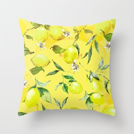 Watercolor Lemon Pattern VIII Throw Pillow