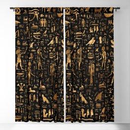 Ancient Egyptian Hieroglyphics Obsidian Copper Blackout Curtain