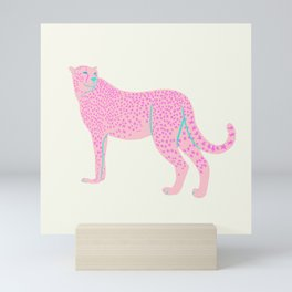 PINK STAR CHEETAH Mini Art Print