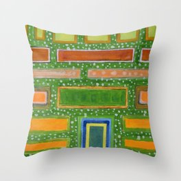 Filled Rectangles on Green Dotted Wall Throw Pillow