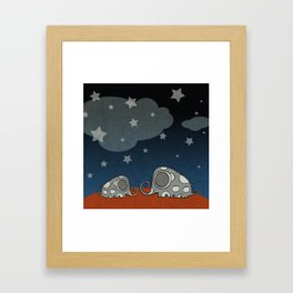 The Night of Grey Elephants Framed Art Print