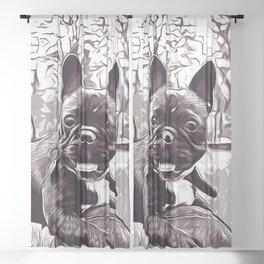 french bulldog basketball vector art black white Sheer Curtain