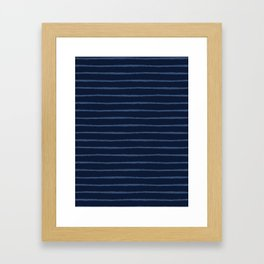 Hand Drawn Stripes Pattern Indigo Blue Grunge Framed Art Print