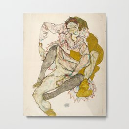 Egon Schiele - Seated Couple Metal Print