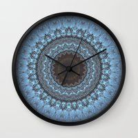 bohemian Wall Clocks featuring Bohemian Blue by Jane Lacey Smith