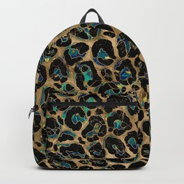 Leopard Faux Fur Texture Marble and gold Backpack