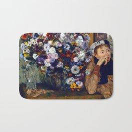 Edgar Degas A Woman Seated beside a Vase of Flowers Bath Mat
