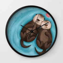 Otters in Love Wall Clock