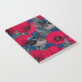 Fairy wren and poppies Notebook
